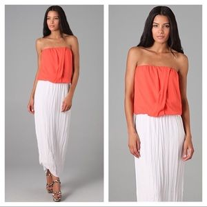 Alice + Olivia Coral Silk Blend Strapless Top XS